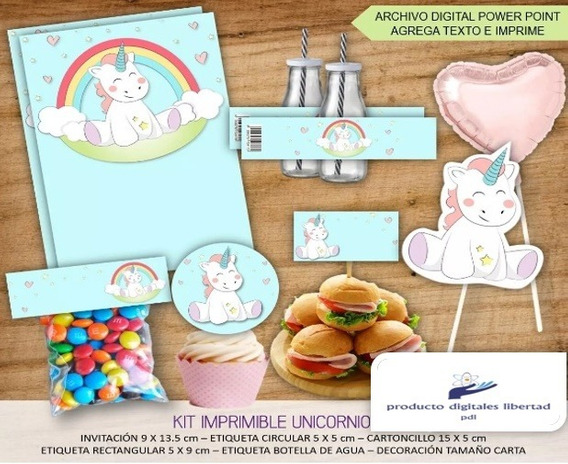 Kits Imprimibe Unicornio Pastel(2018) 2x1