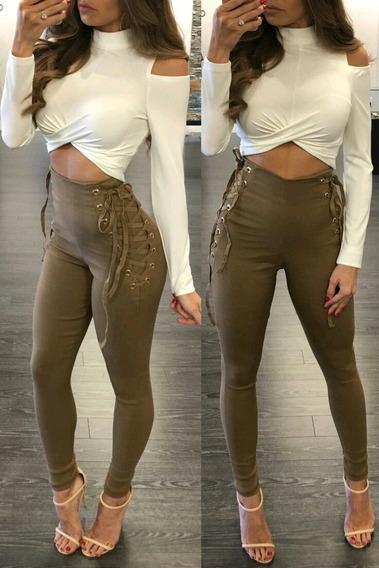 Pantalon De Dama Con Trenzado