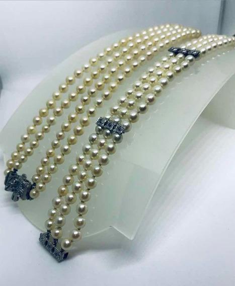 Glitter Conjunto Colar Pulseira Pérolas Ouro E Diamantes