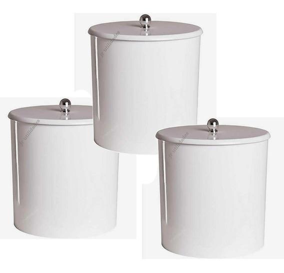 Kit 03 Lixeira Cesto Lixo Banheiro Cozinha Lavabo 402
