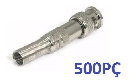 Kit 500 Conectores Bnc Macho De Mola Com Parafuso 4mm Cftv