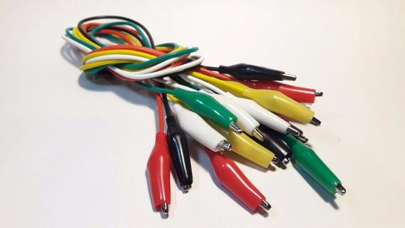 10 Cables Conectores 50cm Con Fichas Cocodrilo