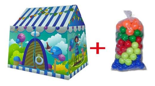 Barraca Infantil Toca Divertida Zoo Candy + 100 Bolinhas