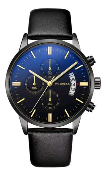 Relógio Masculino Elegante Preto Prata Ouro Couro Cuena Aço