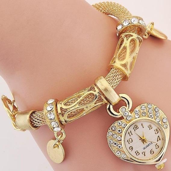Relógio Pulseira Dourado Coração