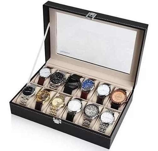 Caja Organizador Estuche Para 12 Relojes Exhibidor Ecocuero