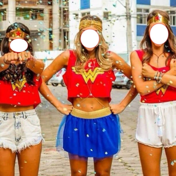 Blusa Cropped Regata Super Herois - Mulher Maravilha