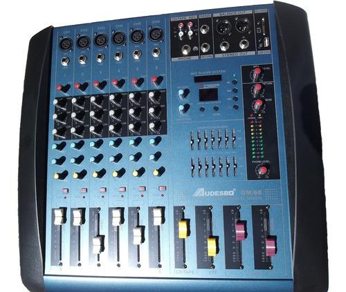 Consola De Sonido Amplificada 6 Canales Ecualizador Phantom