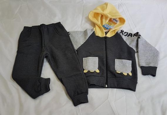 Conjunto Moleton Menino Bebê Com Casaco Capuz Tam2