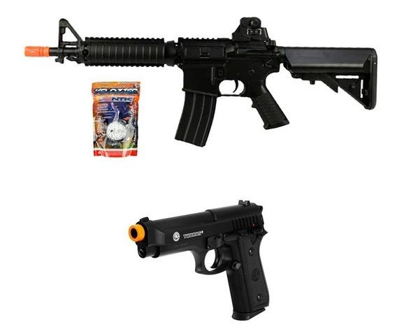 Rifle Airsoft Cyma M4 M176 + Pistola Pt92 Slide Metal + Bbs