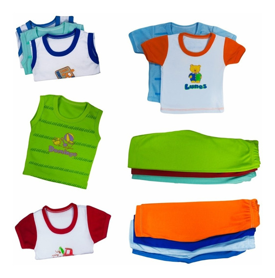 Semanario 14 Piezas Para Bebe Colores Fuertes-multicolor