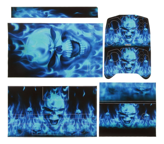 Azul Crânio Decal Pele Adesivo Cobertura Para Xbox Um Conso