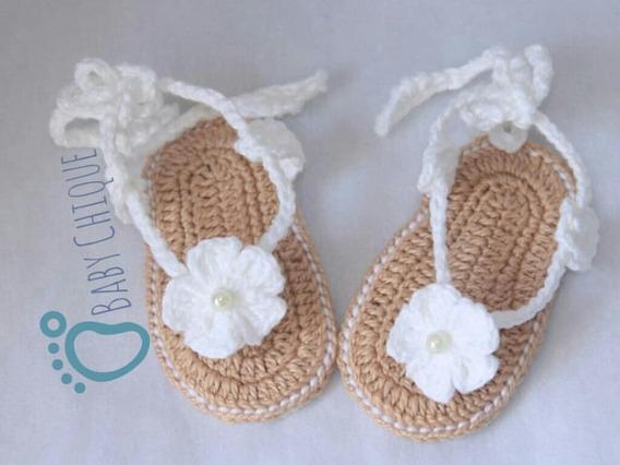Sandália De Bebê Menina Menino Crochê Anti Alérgica