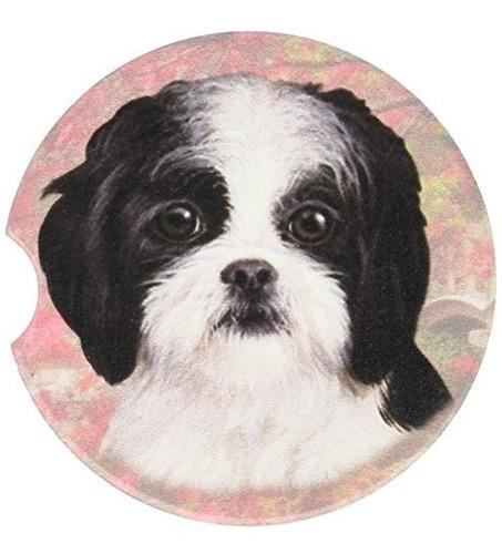 E Y S Pets Negro Y Blanco Puppy Cut Shih Tzu Coaster 3 X 3