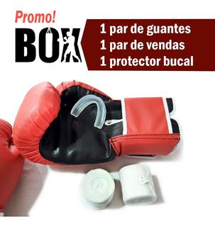 Combo Box Guante + Vendas + Protector Bucal - Boxeo