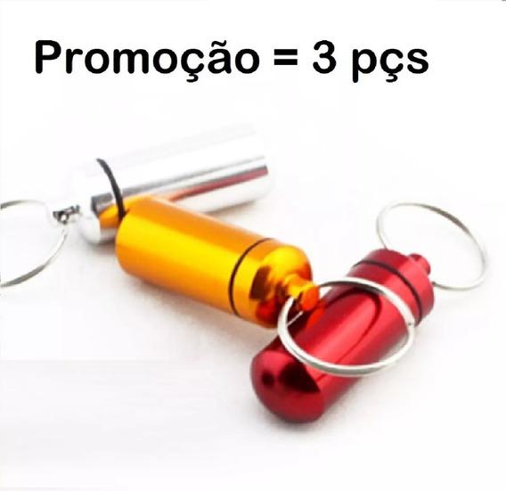 Capsula Remedio Caixa Porta Comprimido Kit C/ 3pçs C37