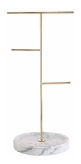 Porta Jóia De Pendurar Dourado Com Base Cerâmica Branco Mode