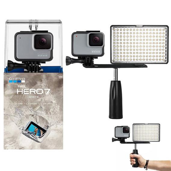 Gopro Hero 7 White Câmera + Iluminador Led C/ Garra