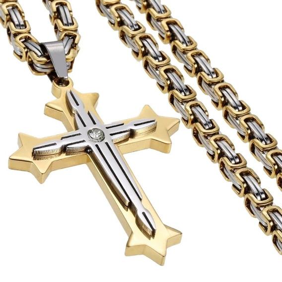 Corrente Masculina Pinzente Cruz Crucifixo