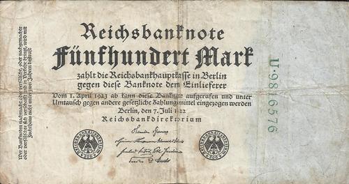 Imagen 1 de 2 de Alemania 500   Marcos 1922