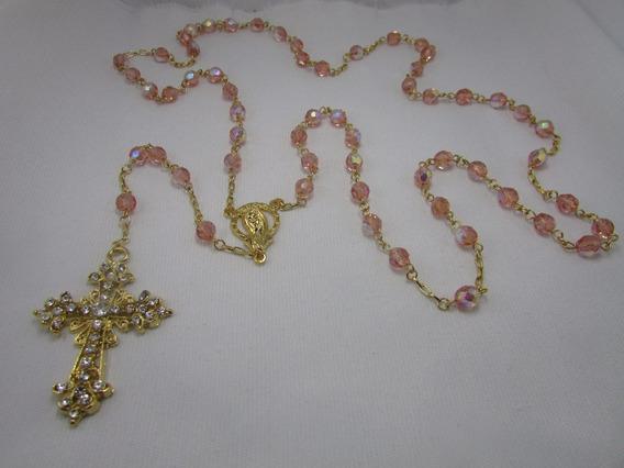 Terço De Noiva Cristal Rosa Banho Dourado Crucifixo Mariano