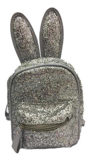 Mini Mochila Infantil Coelho C/ Glitter Prata 20cm