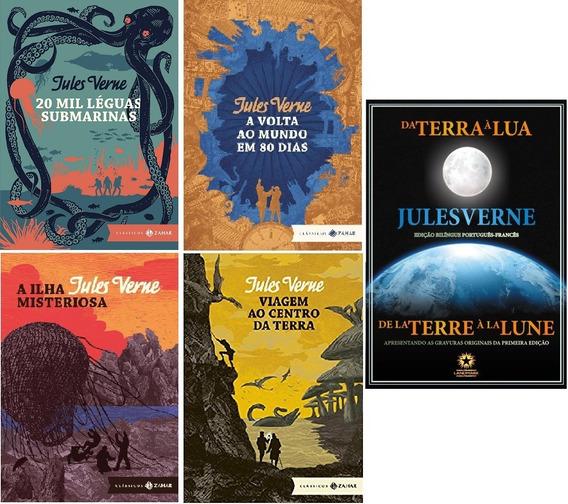 Coleção 5 Julio Verne: Terra Lua; Volta Mundo; 20 Mil Léguas