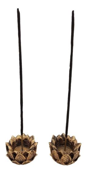 Kit C/ 2 Incensário E Castiçal Flor De Lotus Em Resina 5cm