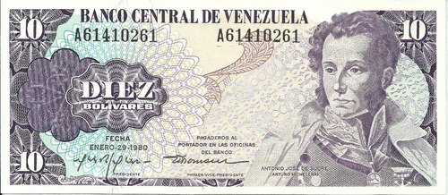 Billete 10 Bolívares. Enero 29 1980. Serial A-8. Venezuela
