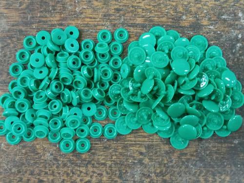 100 Broches A Presion Plastico * 15 Mm * Verde Grey * Condal