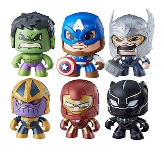 Kit 6 Boneco De Ação Mighty Muggs Transformes Vingadores