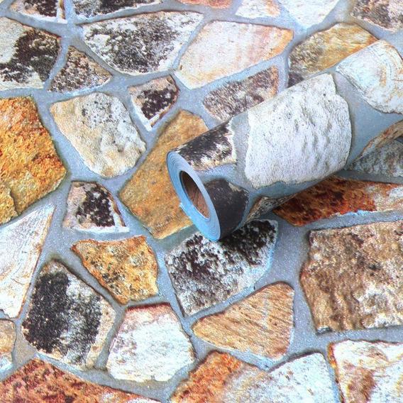 Papel Tapiz Piedras Laja Cocina Adhesivo 45cm X 10 Mt 3d