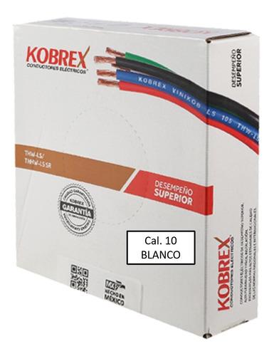 Imagen 1 de 4 de Caja 100mts Cable Blanco Cal 10 Awg Kobrex Vinikob 100%cobre