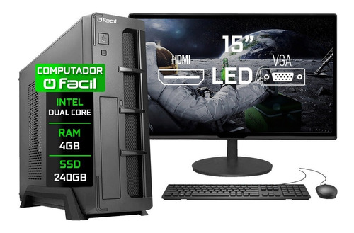 Imagem 1 de 4 de Pc Completo Fácil Slim Intel 4gb Ssd 240gb Monitor 15'' Hdmi