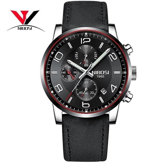 Relógio Masculino Nibosi 2328 Prata C/ Preto Pulseira Couro