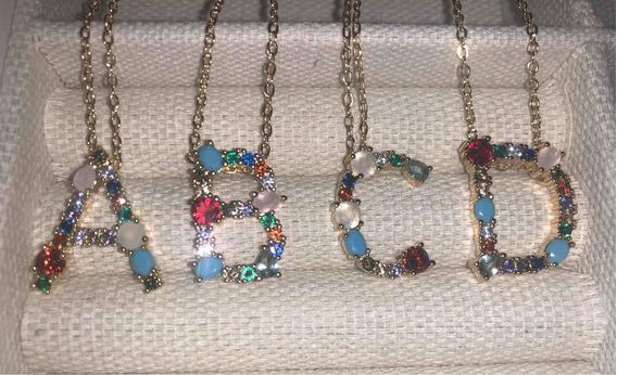Collar Con Dije De Letra/inicial Con Zorconias Tipo Arcoiris