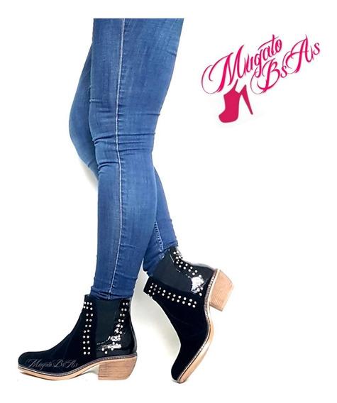 Botas Botinetas Elastizadas Zapatos Mujer Tachas Invierno