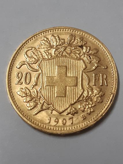 Moeda Em Ouro 20 Fr Francos Suíços. Data 1907
