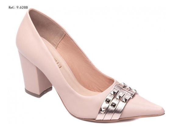 Sapato Feminino Scarpin Salto Alto Bloco Grosso Bico Fino