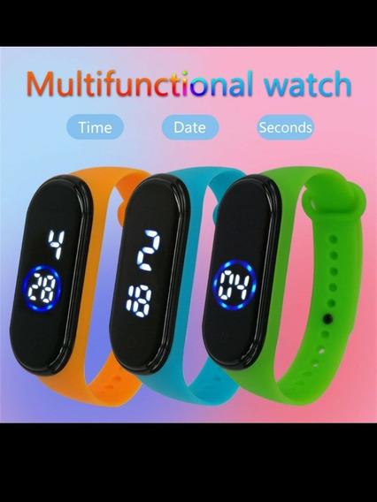 Promoção 5 Relógios Digital Com Led Branco