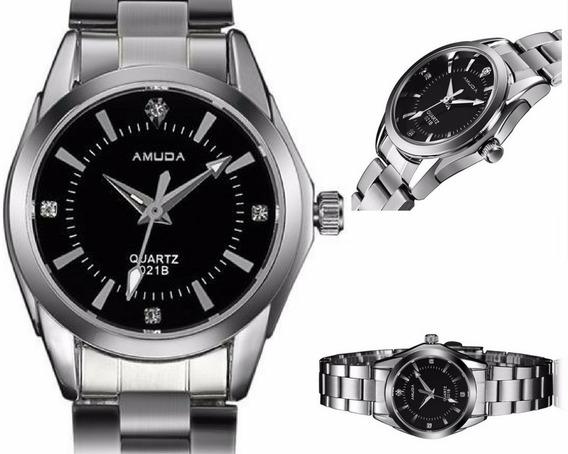 Relógio Feminino Analógico Quartzo Luxo Aço Inoxidável Preto