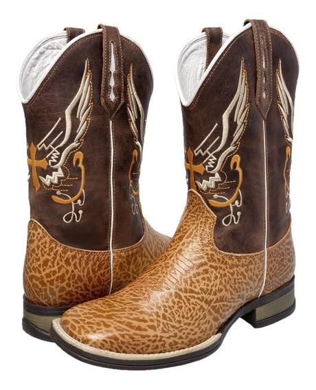 Bota Botina Texana Escamada Country Masculina Rodeio Couro