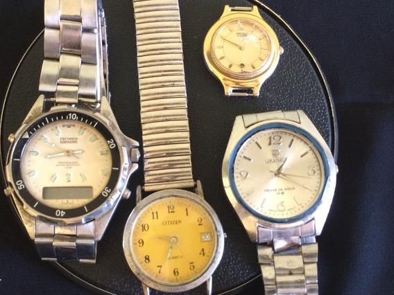 Lote De 4 Relógios De Pulso Marca Technos- Citizen-seiko-