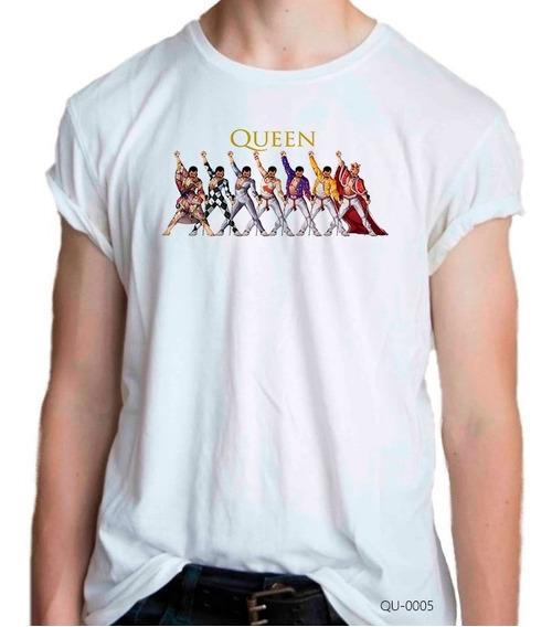 Camiseta Queen 7 Freddie Mercury Arte Rock Playera Qu-0005