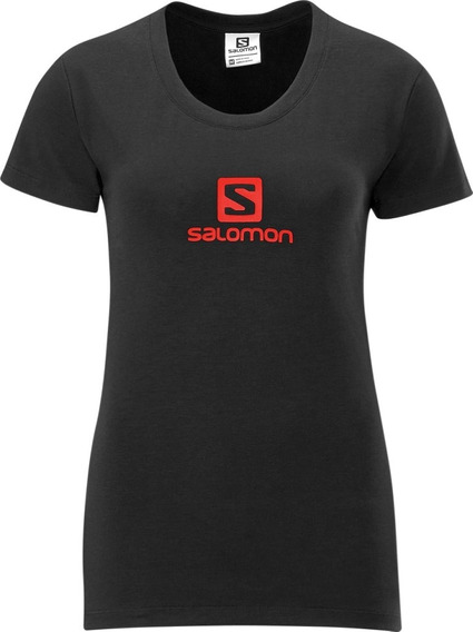 Polo Femenino Salomon - Poly Logo Tee W Negro/rojo - Hiking