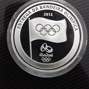 Moeda Comemorativa Prata Entrega Da Bandeira Olímpica