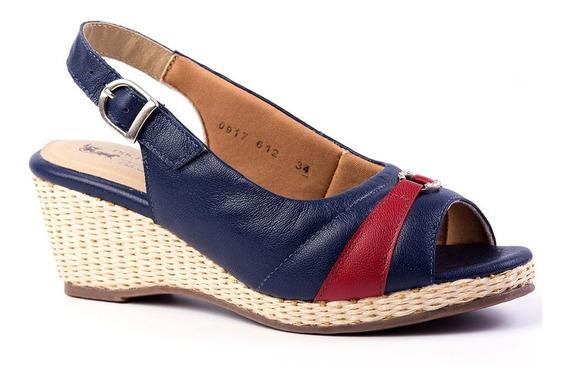Sandália Feminina Anabela 612 Petróleo/framboesa Doctor Shoe