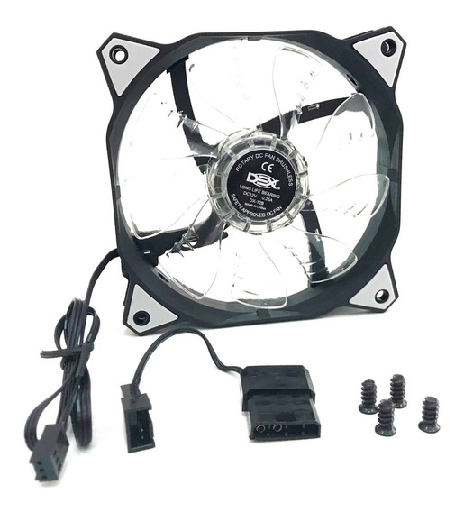 Cooler Fan C/4 Led Branco 120x120x25 12cm 120mm Gabinete Ven