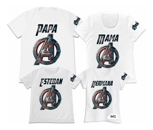 Camiseta Set 4 Papa Mama Hijo Avengers Vengadores Marvel