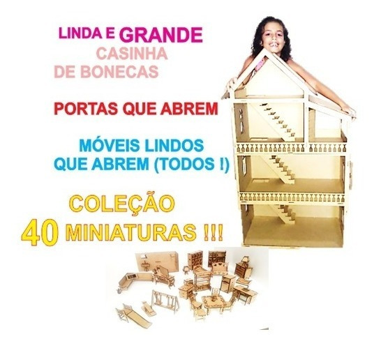 Linda Casinha Bonecas Polly Barbie + 40 Miniaturas
